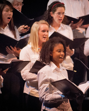 Students in the Colby-Sawyer Singers at a holiday performance
