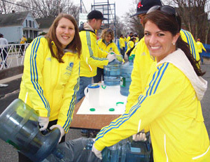 Exercise and Sport Sciences Majors Club members volunteering at the Boston Marathon