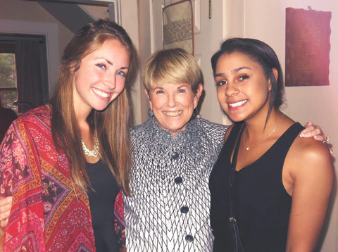 Judith Bodwell Mulholland '62 with her grandniece Avery Brennan '21 (L) and granddaughter Callie Anderson '19 (R).