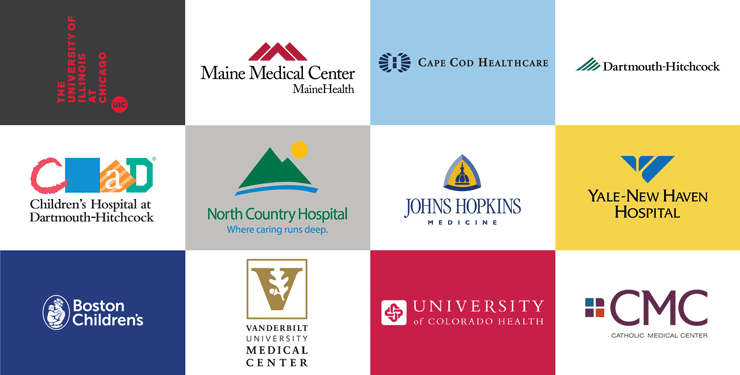 Grid of institution logos where Colby-Sawyer Nursing graduates are employed
