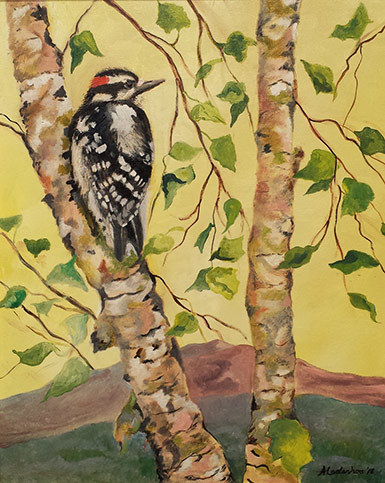 Painting of bird on a birch tree with Mount Kearsarge in the background.
