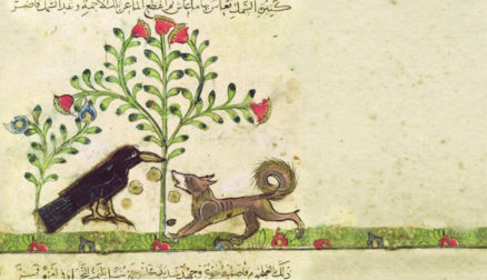 Aesop's Fables illustration of wolf, crow and flowers.