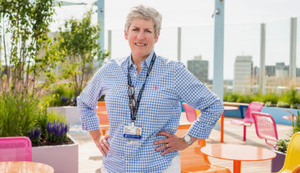 Lisa Hogarty stands on the rooftop garden at Boston Children's Hospital.