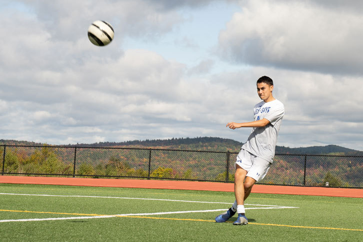 Bryce Capunitan '21 on the soccer field