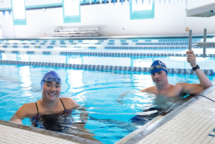 Swimming and diving students in the pool